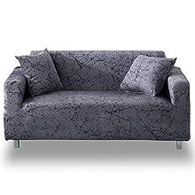 Hotniu Funda Sofa Elasticas 2 Plazas Fundas de Sofa Ajustables Fundas Decorativa para Sofá Estampadas Impresa Cubre Sofa con 1 Funda de Cojín, Modelo #Mgrey