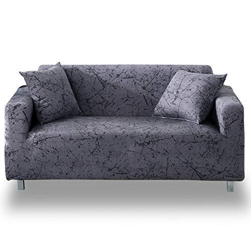 HOTNIU Stretch Funda de sofá 1-Piece Poliéster Spandex Tela Couch Cubierta para patrón #Mgrey 4 plazas
