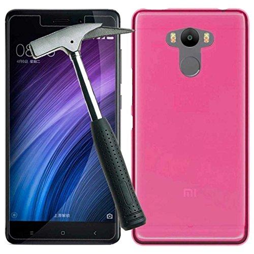 Todobarato24h Funda TPU Lisa Compatible con Xiaomi redmi 4/4 Pro / 4 Prime Rosa + Protector DE Cristal Templado