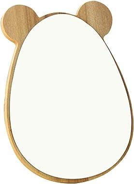 Yjferding 1pc Beaux Jolis Articles Ménagers en Bois Rond Miroir de Bureau Miroir