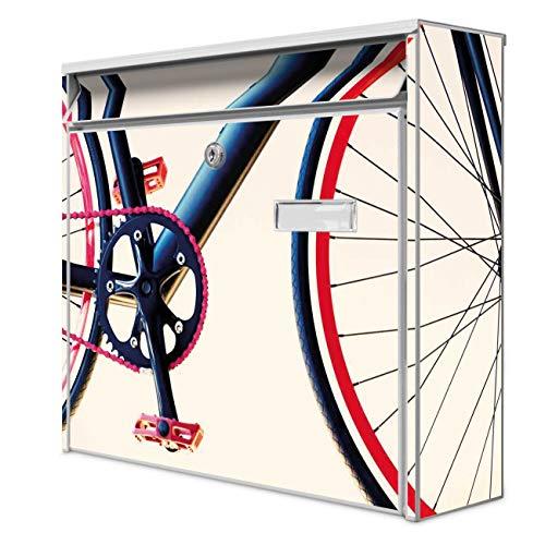 Burg Wächter Design Briefkasten | Postkasten 36 x 32 x 10cm groß | Stahl weiß verzinkt mit Namensschild | großer A4 Einwurf, 2 Schlüssel | Motiv Rennrad | mit Edelstahl Ständer