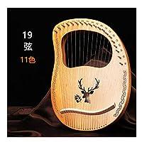 LOFEYA ライアーハープ 19弦 木製 初心者向け 金属弦 弦楽器 キャリングバッグ付き 心癒され音色 (Color 7)