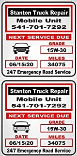 5000 (Click for Qty& Color Options) Premium Two Color Synthetic Matt White Oil Change Reminder Stickers With Easy Peel Of...