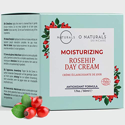 O Naturals Organic Rosehip Oil Moisturizing Face Cream for Soft, Supple Skin. Glowing, Vibrant Skin Anti-Aging Plant Based Face Moisturizer Hydrating Dry, Itchy Skin Non-Greasy. For Men & Women 1.7oz