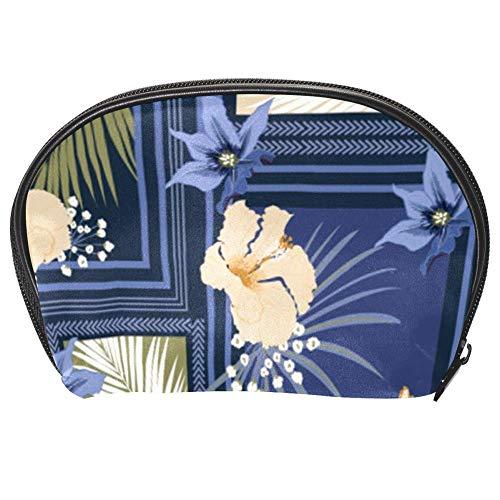TIZORAX Sac à cosmétiques en forme de fleur carrée Bleu Organiseur pratique Sac de maquillage Sac à main pour femmes filles