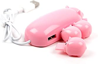 Portable Cute Mom Pig USB Hub 2.0 High Speed Extension with 3 piglet decoration lids, Toooo cute, Best Gift Choice
