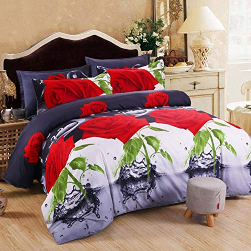 ysldtty 3D Red Love Bedding Set Romantic Wedding Valentines Gift For Her 3Pcs Include Duvet Cover Bed Sheet Pillowcase 135cm x 200cm