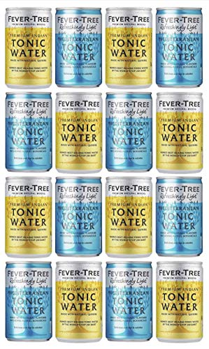 Fever-Tree Indian Tonic Water & Refreshingly Light Mediterranean Tonic Water Cans 16 x 150ml - Mixed Pack x 16