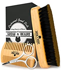 POCKET SIZE: Pocket-size beard brush and moustache comb combo fits perfectly in your jeans' pocket or bag pocket, so you can groom your facial hair anytime, anywhere. KEEPS BEARD SHINY AND SMOOTH: The boar bristle beard brush bamboo and wood comb set...