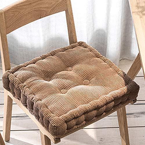 Xpnit Sitzkissen für Stuhl, quadratisch, rund, 10 cm dick, 50 x 50 x 12 cm, Braun