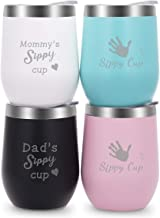 Wine Tumblers with Lid Stainless Steel 12 oz Tumblers Set of 4 for Family Engraved with Novelty Sayings Mommy's Dad's Sippy Cup(Black,White,Light Green,Pink)
