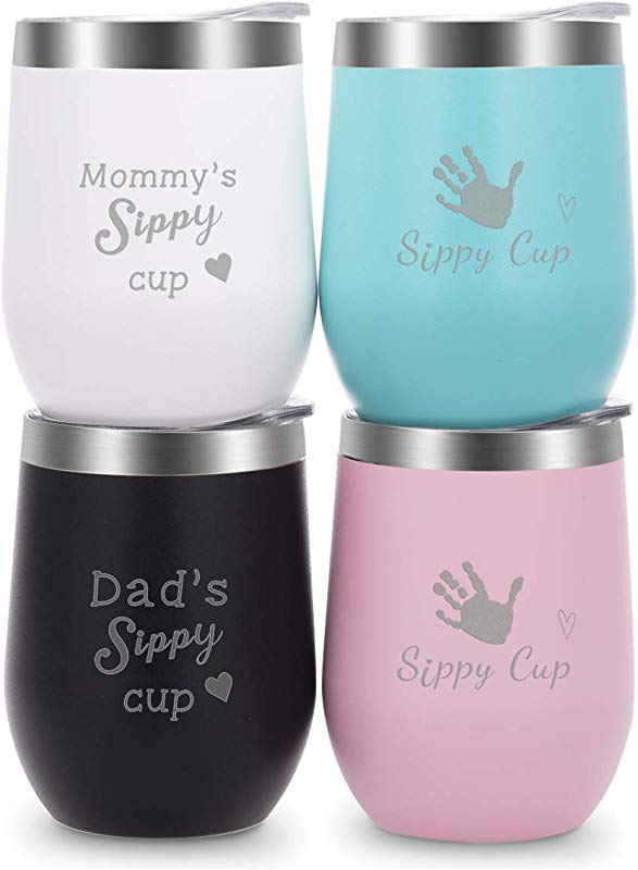 Wine Tumblers With Lid Stainless Steel 12 Oz Tumblers Set Of 4 For Family Engraved With Novelty Sayings Mommy S Dad S Sippy Cup Black White Light Green Pink