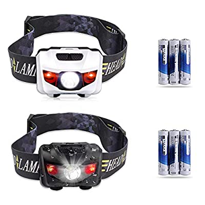 STCT Street Cat Waterproof Rechargeable Headlamp,CREE LED Headlamp Flashlight for Running, Dog Walking, Camping, Hiking, Fishing, Cycling, Night Reading and DIY Works (5-pack(waterproof red light)