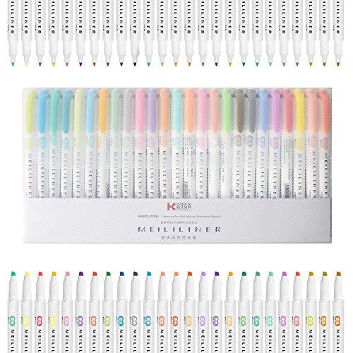 25 colores surtidos de doble cara marcadores marcadores marcadores marcadores de doble punta para resaltar, tomar...