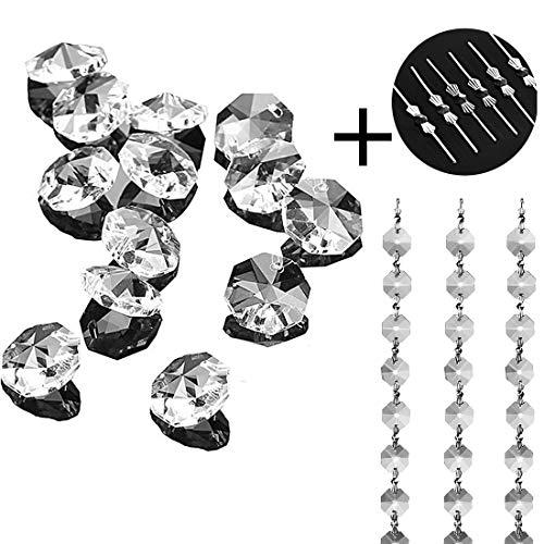 100 piezas de cuentas de cristal octogonales de 14 mm, cortina de cuentas de bricolaje, material de candelabro