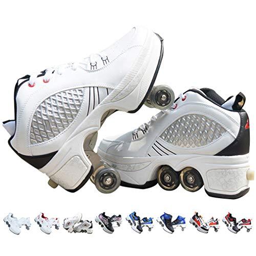 Giardino Unisex-Kinder Skateboard Schuhe Kinderschuhe mit Rollen Skate Shoes Rollen Schuhe,2-in-1-Mehrzweckschuhe, Gymnastik Sneakers für Junge Mädchen Weihnachten Ostern