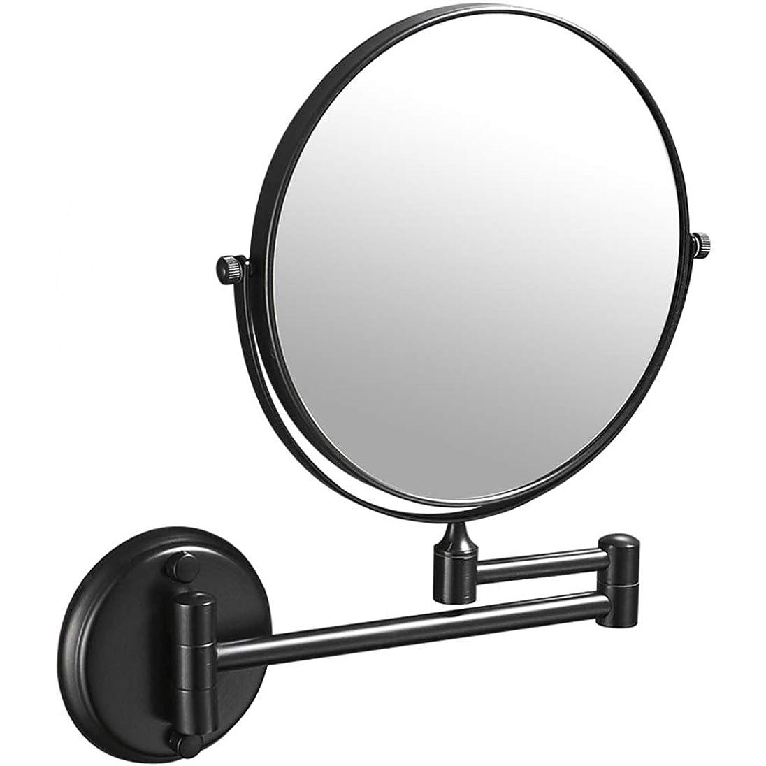 止まる花瓶止まるHUYYA 化粧鏡、3倍拡大 化粧ミラー 両面 壁掛け式バスルームミラー360 °回転 伸縮可能折り けメイクミラー,Black_8inch