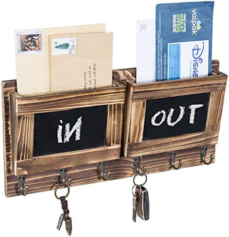 MyGift 2 Slot Brown Wood Wall Mounted Mail Holder w 6 Key Hooks Chalkboard Labels product image