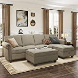 Nolany Convertible Sectional Sofa L Shaped Sofa Couch Set, 4 Seater Sectional Couch with Reversible Chaise and Storage Ottoman, Dark Khaki