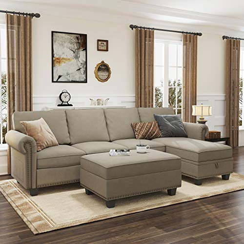 Nolany Convertible Sectional Sofa Couch for Living Room L Shaped Sofa Couch Set with Reversible Chaise and Storage Ottoman, Dark Khaki