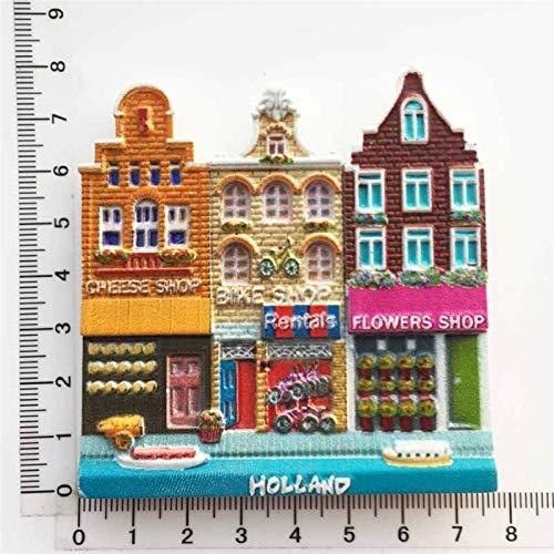 JSJJAYH Imán para nevera de Holanda Creativo Imán de nevera recuerdo Amsterdam Street Cultural Paisaje Turístico Ideas de Regalo 3D Resina Imán de Nevera Decoración Necesidades Diarias (Color: 2)