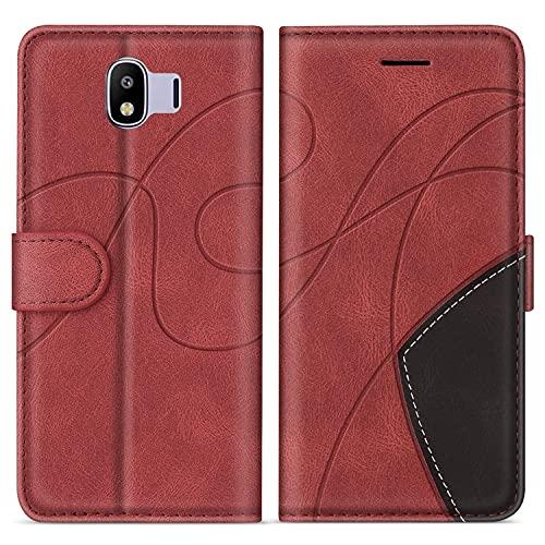 SUMIXON Hülle für Galaxy J4 2018, PU Leder Brieftasche Schutzhülle für Samsung Galaxy J4 2018, Kratzfestes Handyhülle mit Kartenfächern & Standfunktion, Rot