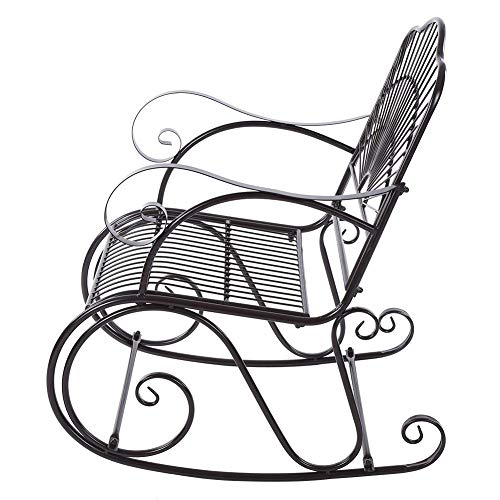 Pissente - Sedia a dondolo in ferro, 1 posto, stile retrò, sedia a dondolo in ferro battuto, stile antico, mobili da giardino per adulti, patio, cortile, parco interno