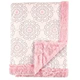 Hudson Baby Unisex Baby Plush Blanket with Furry Binding and Back, Modern Floral, One Size
