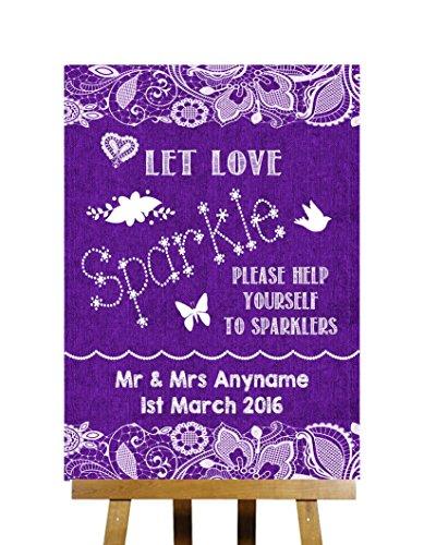 Paarse jute & kanten collectie Sparklers sturen uit gepersonaliseerde bedrukte kaart trouwbord Large A3 Paars