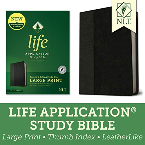 Compare Textbook Prices for Tyndale NLT Life Application Study Bible, Third Edition, Large Print LeatherLike, Black/Onyx, Indexed, Red Letter – New Living Translation Bible, Large Print Study Bible for Enhanced Readability Large type / Large print Edition ISBN 9781496439383 by Tyndale