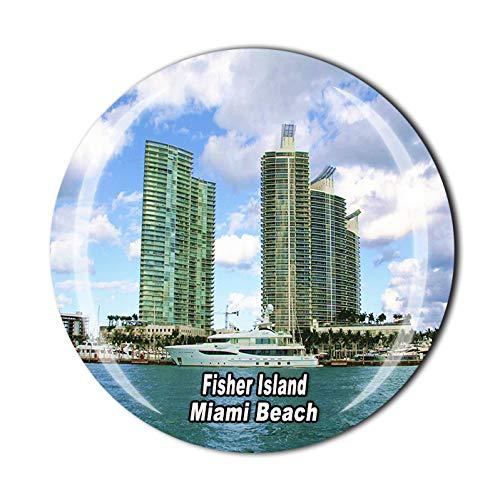 Time Traveler Go Fisher Island Miami Beach USA Imán para nevera 3D regalo para el hogar o la cocina