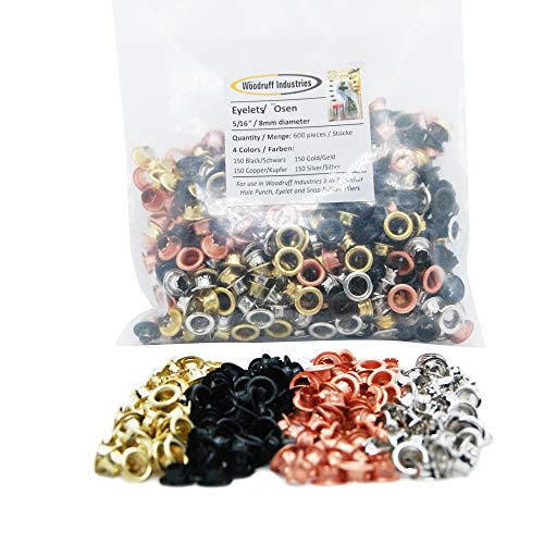 Woodruff Industries 600 Pieces (150 of each color: BLACK, COPPER, GOLD, SILVER) Metal Eyelets Nickel Plated Iron Metal 5 mm Hole Multi Grommet Tool Kit Clothes and Leather Grommets for Arts Crafts Scr