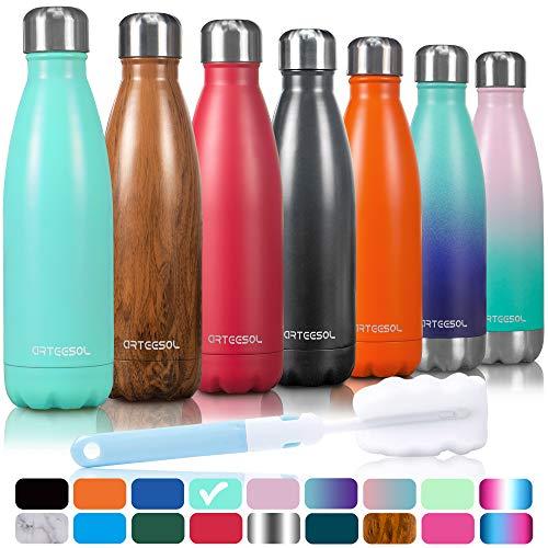 arteesol Doppelwandige Thermosflasche, Vakuum Wasserflasche - Premium 500ml/750ml/1000ml Edelstahl Trinkflasche, BPA-Frei Isolierflasche Sport Flasche