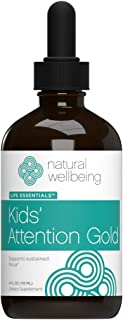 Natural Wellbeing - Kids' Attention Gold - Natural Support for Focus and Concentration - 4oz (118ml)