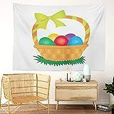 Y·JIANG Tapiz para cesta de Pascua, cesta de Pascua, diseño abstracto, con diseño de lazo y huevo de flores, para el hogar, dormitorio, 203 x 152 cm