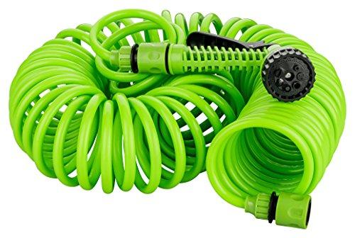Kinzo 15 Meter Gartenschlauch Komplettset | Spiralschlauch inkl. Gartenbrause mit 7 Funktionen | Schnellkupplung | Wasserhahnanschluss 3/4 Zoll