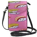 AEMAPE Carteras de Cuero de Cuero Kqwaii Colorful Small Fat Sushi Print Estuche para teléfono Celular Bolso para teléfono Bolsas para niñas Monedero Cartera de Viaje Bolso para Pasaporte Bolsos