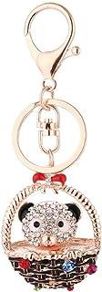 Luxurious Sanwoodd Lovely Bowknot Basket Bear Keychain Pendant Women Jewelry Key Ring Bag Decor