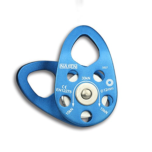 NAXEN 30kN CE Certified Climbing Pulley Ball Bearing Micro Pulley Mobile Side Plate Pulley