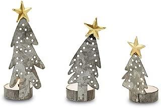 Mud Pie Galvanized Tin Tree Tea Light Holder Set Home Accessories