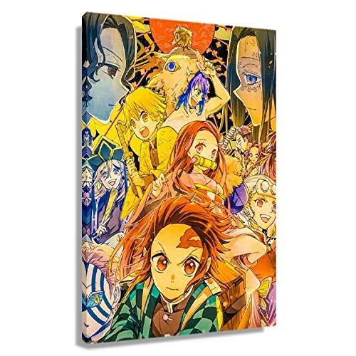 Póster mágico de Kamado Tanjirou para pared, impresión de anime moderna, cuadro de lienzo para decoración de astracto Artwrok, decoración de sala de estar (enmarcado, 60 x 90 cm)
