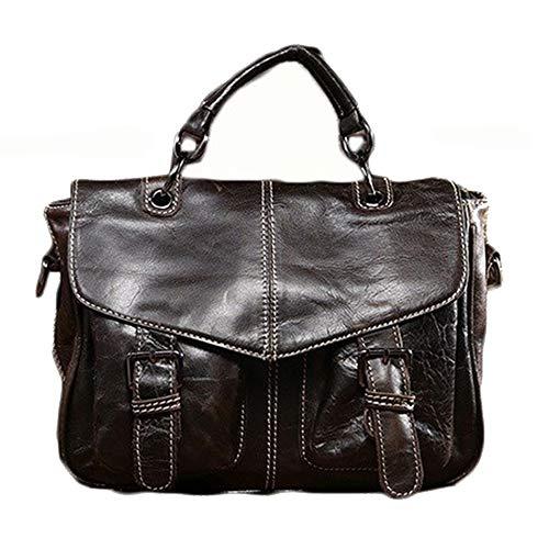 Yi-xir Ladies' favorite bag Men's kickoff layer cowhide oil wax shoulder bag retro bag Diagonal bag backpack (Color : Dark coffee color, Size : 27 * 21 * 12cm)