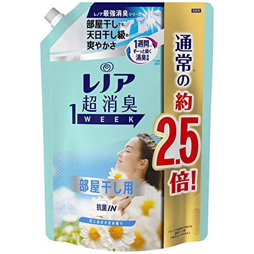 スマートマットライト レノア 超消臭1WEEK 柔軟剤 部屋干し 花とおひさまの香り 詰め替え 約2.5倍(980mL)