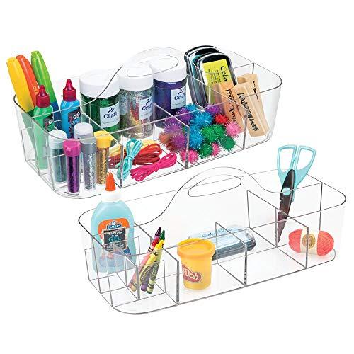 mDesign Juego de 2 organizadores de oficina con asa para material de arte – Útiles cestas plásticas para manualidades – Organizador de escritorio con asa para pinceles, costura, etc. – transparente