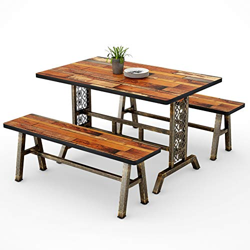 Tribesigns Dining Table with Two Benches, 3 Pieces Dining Set Kitchen Table Set with Metal Base for...