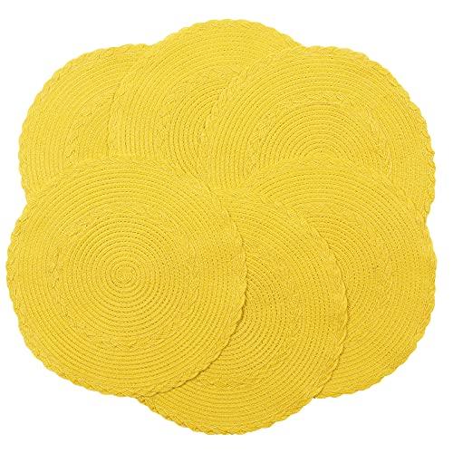 Iwanda - Manteles individuales redondos de algodón trenzado, 38 cm, resistentes al calor, lavables, para cocina, hogar, boda, fiesta,...