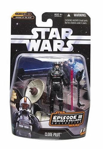 Star Wars Episode 3 Heroes and Villains Clone Pilot Black figure