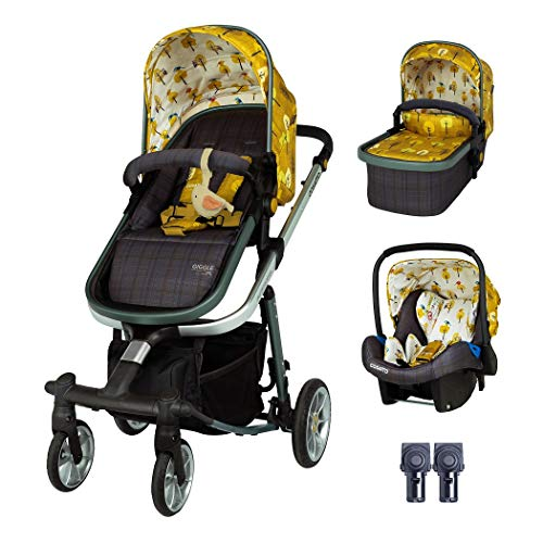 Cosatto Giggle Quad Pram & Pushchair Set (3pcs) – Travel System from Birth, Baby Car Seat, Adaptors & Raincover (Spot The Birdie)