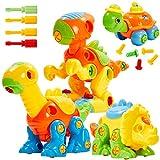 Buyger 4 en 1 Ensamblar Dinosaurios Juguetes para Niños con Destornilladors Puzzle Construccion Juegos Juguetes Educativos Interactivos Regalos para Niños Niñas 3 4 5 Años