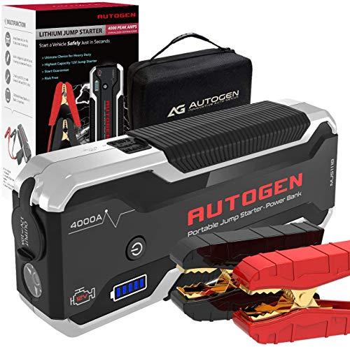 AUTOGEN 4000A Booster Batterie Voiture (10.0 L + Essence & Diesel),Démarreur de Voiture Portable au Lithium de 12 Volts.Booster Pack pour Voitures,SUV,camions.Énorme Banque d'énergie Charge...
